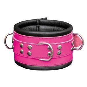 Pinkfarbenes Leder Halsband
