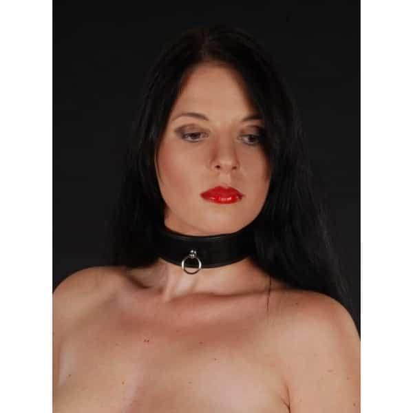 BDSM Halsband der O, gepolstert mit Schloss - schwarz
