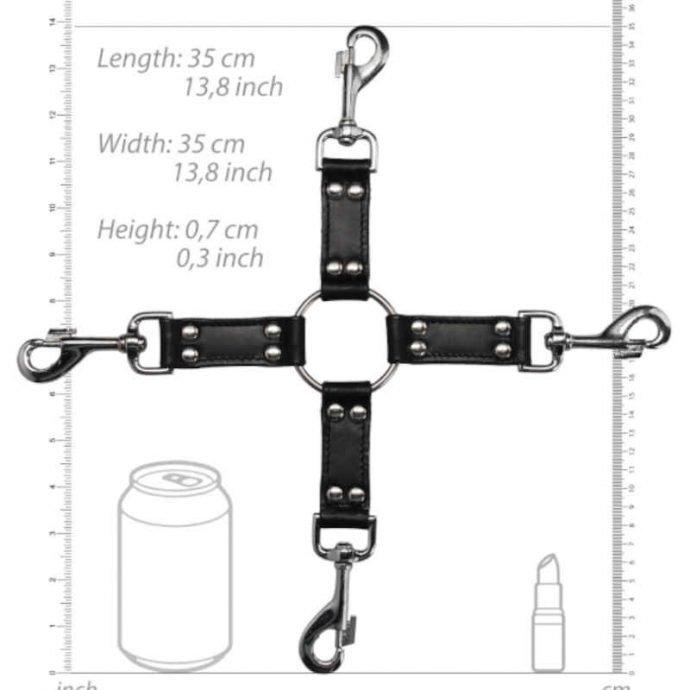 4-Wege Leder Hogtie-Kreuz - Schwarz
