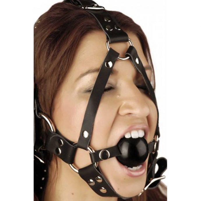 Kopfharness aus Leder mit Knebel
