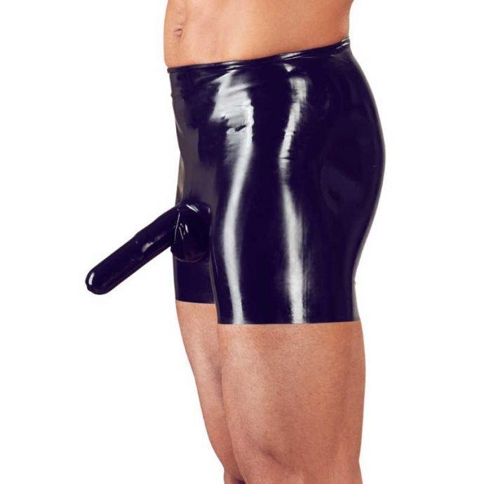 Latex-Pants mit Penishülle und Analkondom