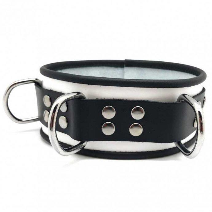 Lederhalsband mit 3 D-Ringen