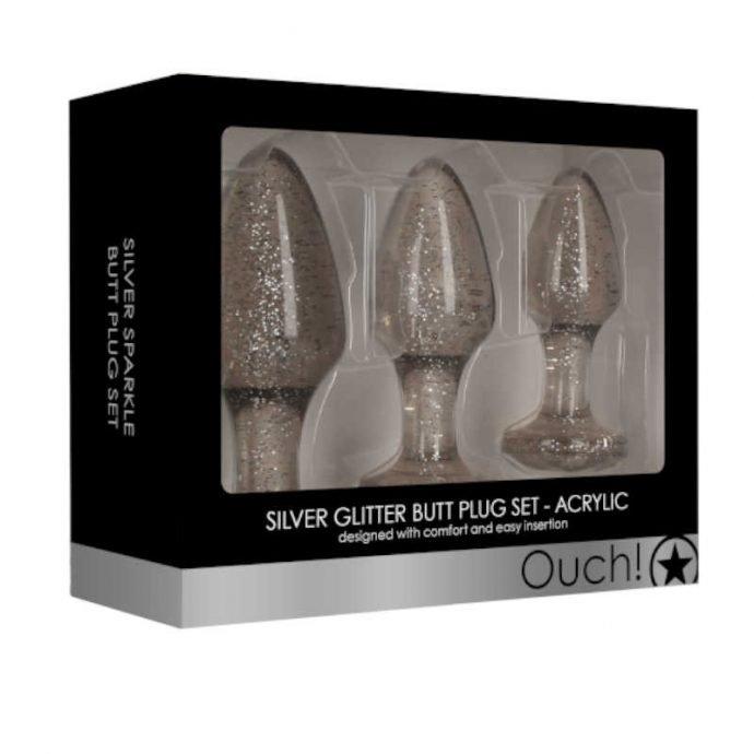 Butt Plug Set Acryl Silber
